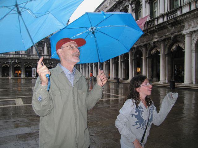 With Essy in the rain, St Mark's Square, Venice